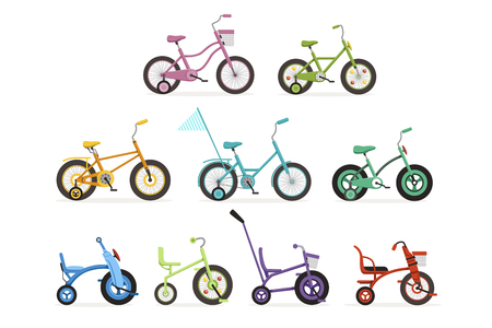 Various type of kids bikes set, colorful bicycles with different frame types vector Illustrations on a white background