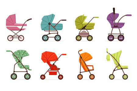Baby stroller set, different types of kids transport, colorful vector Illustrations on a white background Foto de archivo - 107637312