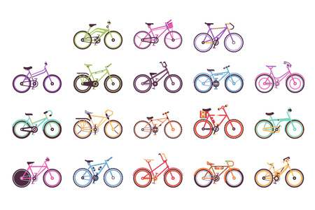 Various types of bikes for male, female and kids set, colorful bicycles with different frame types vector Illustrations on a white background