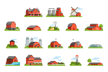 Farm house and constructions set, agriculture industry and countryside buildings vector Illustrations on a white background Illustration