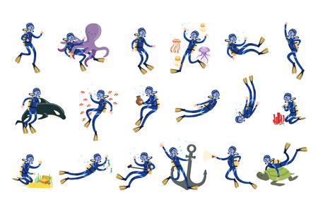 Conjunto de buceo y esnórquel, buzo en natación submarina en máscara de snorkel y aletas vector ilustraciones sobre un fondo blanco Ilustración de vector