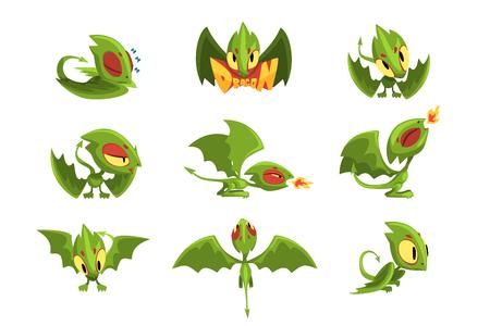 Collezione di personaggi dei cartoni animati di drago bambino verde in diverse situazioni. Seduto, guardando, soffiando nel fuoco, dormendo, stanco. Illustrazione vettoriale piatta buona per computer fantasy o gioco di app per dispositivi mobili.