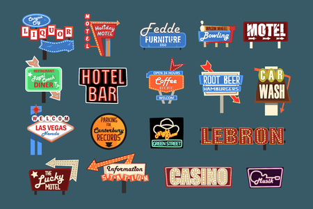 Neon signboards, billboards, light boxes and banners set of vector Illustrations, American advertisement style Reklamní fotografie - 110332113