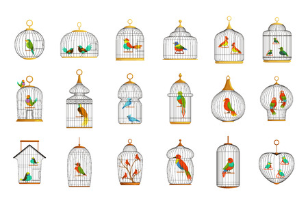 Bird cages with different birds set of vector Illustrations Banco de Imagens - 107663689