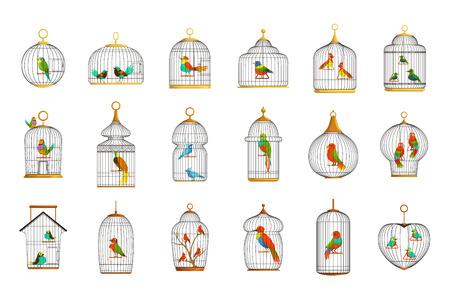 Jaulas de pájaros con diferentes aves conjunto de ilustraciones vectoriales