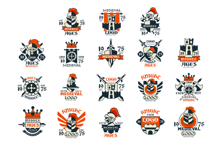 Medieval design set, middle ages vintage emblem vector Illustrations