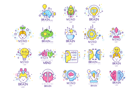 Mind energy original design set, creation and idea elements colorful vector Illustrations