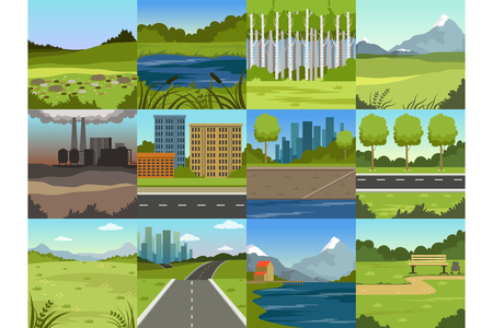 Different natural summer landscapes set, scenes of city, factory, forest, field, hills, road, river and lake vector Illustrations