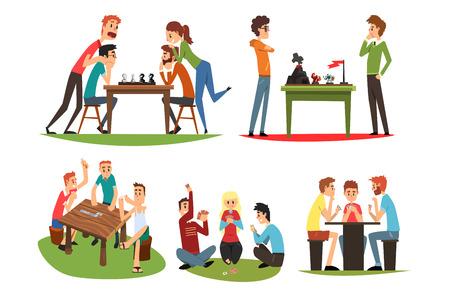 Zestaw gier stołowych, przyjaciele grając w domino i szachy, grupa przyjaciół do wspólnego spędzania czasu wektor ilustracja na białym tle na białym tle