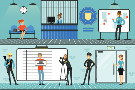 Police department set, policemen at work, investigating crimes, identifying and arresting criminals, office interior horizontal vector Illustrations Çizim