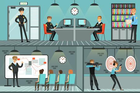 Zestaw departamentu policji, policjanci w pracy, dochodzenie w sprawie przestępstw, identyfikowanie i aresztowanie przestępców, ilustracje wektorowe wnętrza biura poziomego