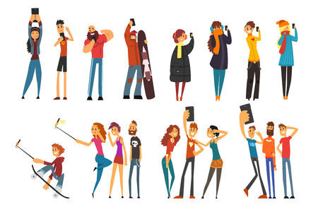 Different happy people taking selfie photo cartoon vector Illustrations isolated on a white background