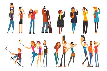 Verschiedene glückliche Menschen, die Selfie-Foto-Cartoon-Vektor-Illustrationen auf weißem Hintergrund machen