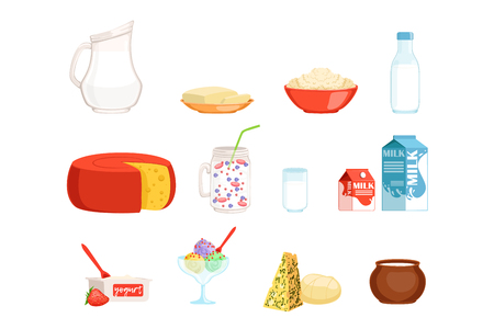 Dairy products set, milk, butter, cheese, yogurt, sour cream, ice cream vector Illustrations isolated on a white background
