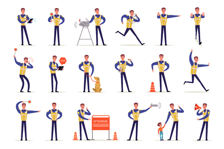 Traffic officer in uniform with high visibility vest set, policeman standing at crossroads and making sign with his hands vector Illustrations isolated on a white background Çizim