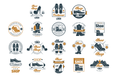 Footwear store set, shoe style premium quality estd 1963 vector Illustrations