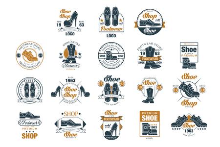 Schoenenwinkel set, schoen stijl premium kwaliteit estd 1963 vector illustraties