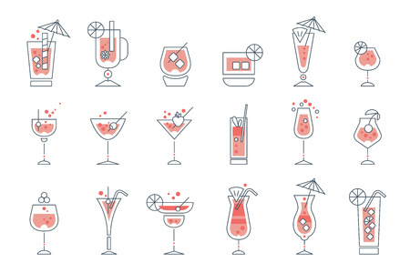 Set of line alcoholic cocktails. Collection of drinks and beverages in different glasses, tumblers, goblets, wineglass. Trendy flat design with black outline, red fill color. Vector isolated on white.