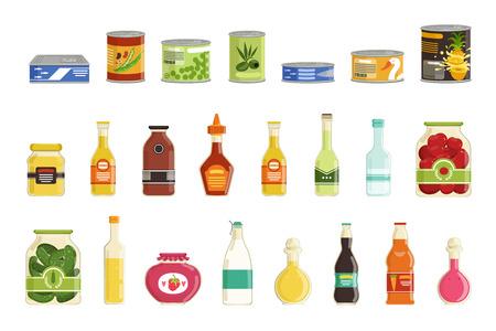 Conjunto de conservas de dibujos animados. Conservas de jugos, sopas, pescados, salsas, conservación de verduras. Conserve los alimentos en lata de metal y frasco de vidrio con etiquetas. Diseño plano. Ilustración de vector aislado en blanco.