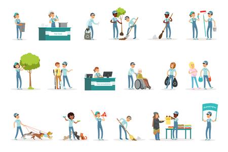 Eine Reihe junger Freiwilliger, die im Garten arbeiten, Müll reinigen, alten und obdachlosen Menschen helfen. Aktivitäten zur sozialen Unterstützung. Zeichentrickfigur. Vektor-Illustration im flachen Stil isoliert auf weißem Hintergrund.