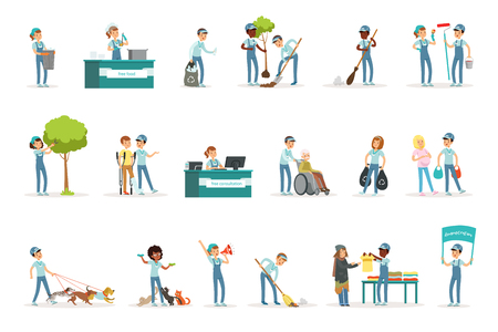 Set of young volunteers gardening, cleaning garbage, helping old and homeless people. Social support activities. Cartoon character. Vector illustration in flat style isolated on white background.