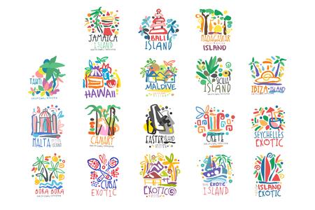 Bunter Satz der Sommerferien der exotischen Inseln