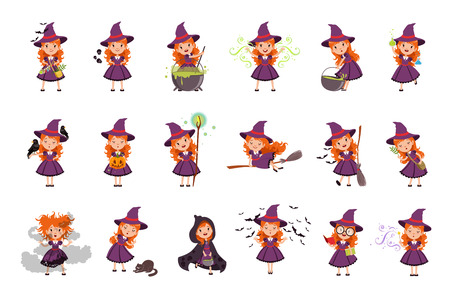 Little kid witch set wearing purple dress and hat. Girl reads, conjures, brews a potion, collects herbs ingredients, scolds cat. Halloween collection with broom, bats, magic wand and magic pot. Vector