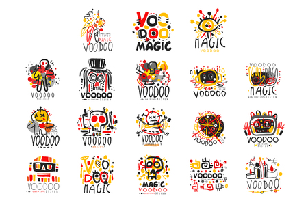 Voodoo African and American magic set Vector Illustration