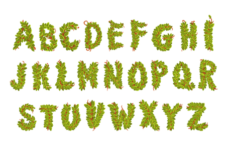 Set of natural alphabet letters from A to Z, fresh green leaves on branch. Floral concept. Ecological font ABC. Isolated on white background. For children s print or poster design vector illustration.