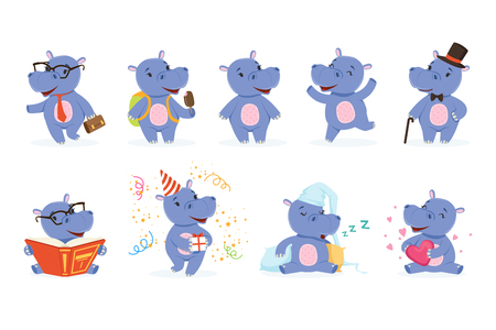 Cute baby behemoth character in action. Happy, intelligent, walking, jumping, reading, sleeping, playing. Funny vector set of emotion hippo. Cartoon hippopotamus stickers collection in different poses