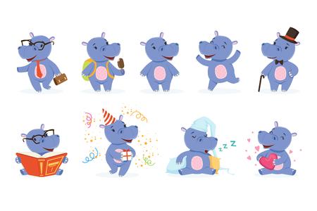 Lindo personaje de behemoth bebé en acción. Feliz, inteligente, caminando, saltando, leyendo, durmiendo, jugando. Conjunto de vector divertido de hipopótamo de emoción. Colección de pegatinas de hipopótamos de dibujos animados en diferentes poses Ilustración de vector