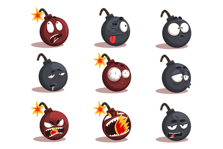 Cartoon bomb emotions set. Cheerful character tries to stop the explosion. Funny explosive faces. A second before blast. Vector comic illustration isolated on white background. Vettoriali