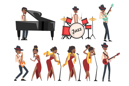 Jazz artists characters set isolated on white. Black man playing drums, grand piano, electric guitar, and saxophone. Woman singer in different poses. Musical band concept. Cartoon flat design vector.