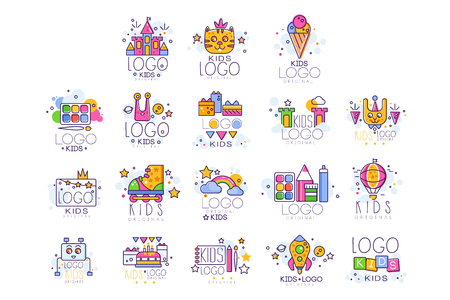 Kids line  set. Paint palette with brush, castle, cat, rollers, rainbow with clouds, robot, cake with gifts, drawing pad and pen. Vector design
