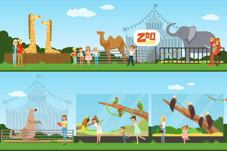 People visiting an zoo set of vector Illustrations, parents with children watching wild animals, zoo concept banners Çizim