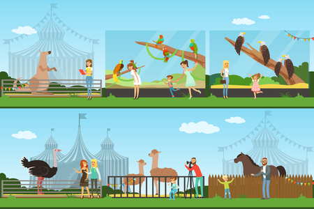 People visiting an zoo set of vector Illustrations, parents with children watching wild animals, zoo concept banners Stok Fotoğraf - 107745004