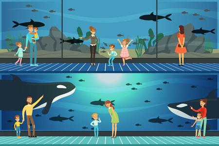 People visiting an oceanarium set of vector Illustrations, parents with children watching underwater scenery with sea animals Ilustração