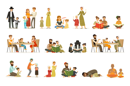 Conjunto de personajes de personas de diferentes religiones. Actividades religiosas. Familias con trajes nacionales que rezan, leen libros sagrados, celebran fiestas. Judíos, católicos, musulmanes, budistas. Vector plano.