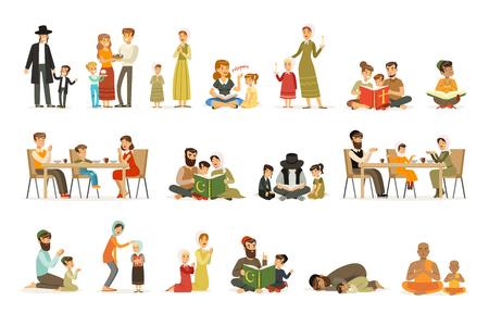 Set di caratteri di persone di diverse religioni. Attività religiose. Famiglie in costumi nazionali che pregano, leggono libri sacri, celebrano le feste. Ebrei, cattolici, musulmani, buddisti. Vettore piatto.