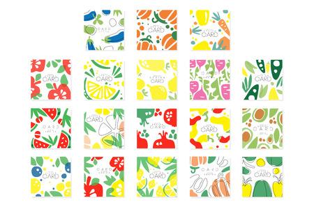 Vegetable cards collection original design, posters with eggplant, pepper, carrot, avocado, beet vector illustrations Ilustração