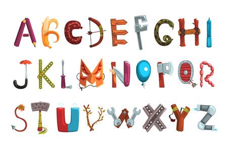 Colección de letras de diversos objetos, alimentos y herramientas. Fuente detallada creativa. Concepto ABC. Desarrollo y educación de los niños. Diseño para ilustración de libros, carteles o tarjetas. Vector plano aislado. Ilustración de vector