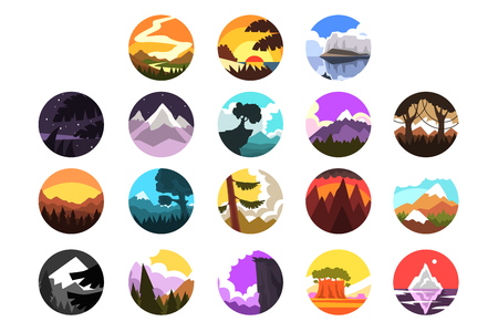 Set of wild nature round landscape, mountain scenery at different times of day vector illustrations on a white background