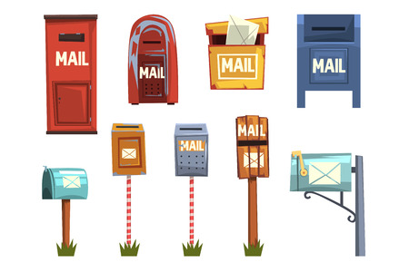 Mail boxes set, vintage postbox cartoon vector Illustrations isolated on a white background Banque d'images - 110273241