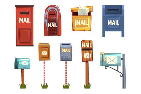 Set di cassette postali, illustrazioni di vettore del fumetto della cassetta delle lettere dell'annata isolate su sfondo bianco Vettoriali