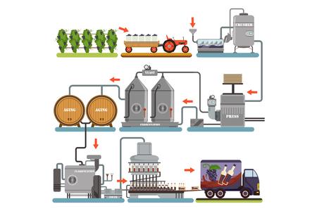 Processo di produzione del vino, bevanda di produzione da illustrazioni vettoriali piatte dell'uva