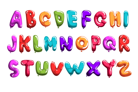 Satz bunte Schriftart in Luftballonform. Englisches Alphabet für Kinder. Buchstaben von A bis Z. ABC-Elemente. Bildung und Entwicklung. Isolierter flacher Vektordesign für Druck, Plakat, Einladung, Karte, Flieger Vektorgrafik