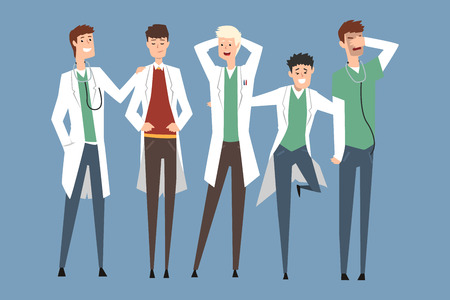 Hospital medical staff, doctors team. Flat happy smiling men characters in medical white coats and uniform. Teamwork. Groups of professionals stand side by side in different poses. Vector illustration Illustration