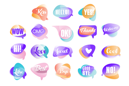 Colorful transparent speech bubbles with short phrases set of vector Illustrations on a white background Illustration