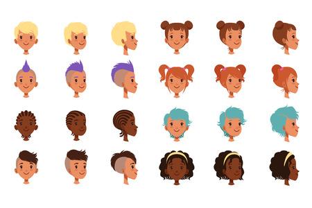 Conjunto de caras de cabeza de niños de vector con diferentes peinados. Mohawk punk, rastas, corte de pelo hipster clásico y moderno. Vista frontal y lateral. Ilustración de diseño plano aislado sobre fondo blanco. Ilustración de vector