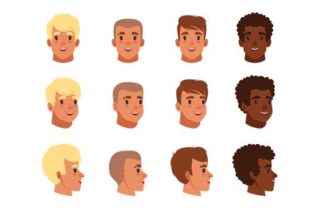 Illustration d'avatars de tête d'hommes avec différentes coupes de cheveux. Coiffure tendance classique, cheveux bouclés, chauve. Vue de face et de côté. Icônes du design plat. Vecteur de style dessin animé isolé sur fond blanc.